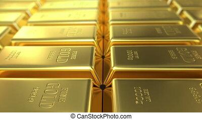 slow flight over gold bars