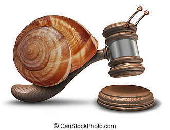 Slow justice law concept as a gavel or mallet shaped as a sluggish snail shell hitting a sounding block as a symbol of problems with legal system sentencing delays and lagging political legislation.