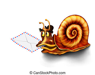 Snail isolated on a white background is associated with slow mail