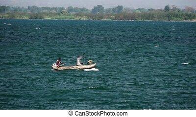 slow-mo, aviron, pêcheurs, pixelated, lac, malawi