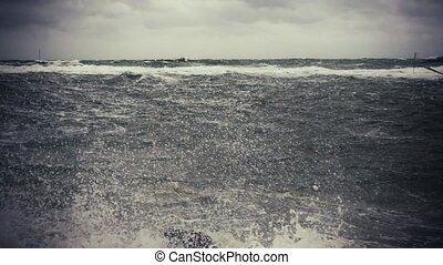 Slow mo beautiful storm sea with beacon flags - Slow mo...