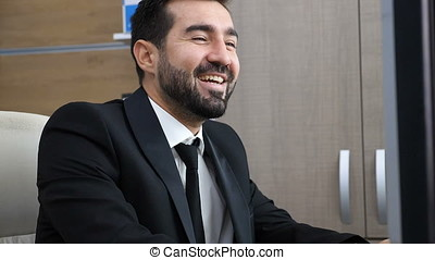 Beautiful portrait of successful businessperson smiling and...