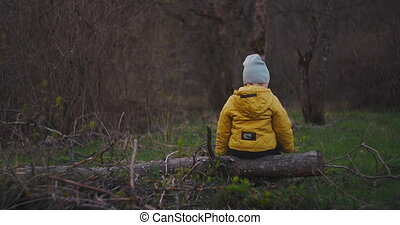 Slow motion: A small boy sitting on a log with his back to the camera looks at the beautiful view of the forest and dreams of imagining himself in the future. Privacy and tranquility. Loneliness.