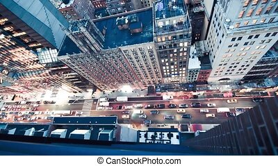 Slow motion aerial overhead view of Manhattan night traffic in slow motion, New York City, USA.