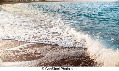 Slow motion amazing footage of sea waves on the beach at...