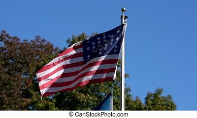 Slow Motion - American Civil War Flag Flies in Wind To The...