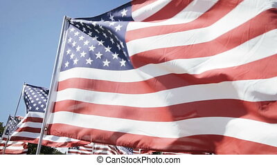 slow motion american flags waving with a blue sky...
