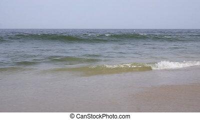 Slow Motion: Beautiful Blue Giant Ocean Wave Crashing