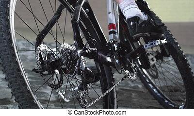 Bike on pavement stone