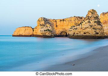 Slow motion blur Algarve coast and cliffs,Portugal