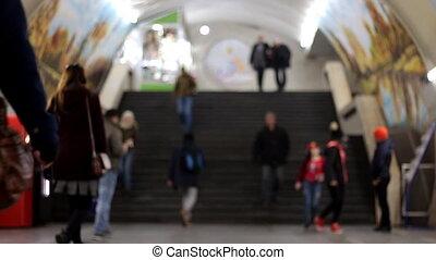 Slow Motion Blurred crowd of walking people