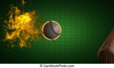 slow motion burning baseball ball. Alpha matted
