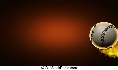 slow motion burning baseball ball