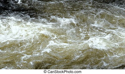 Surface of a shallow fast flowing stream swirling over submerged rocks.