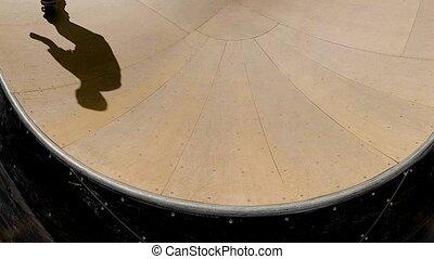Skateboarder In Skatepark - Slow Motion Extreme Skateboarder...