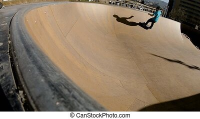 Skateboarder In Skatepark - Slow Motion Extreme Skateboarder...