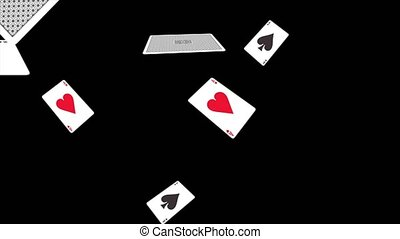 Slow motion falling deck of cards 4K 3D Alpha Green Screen loop Animation. Casino or gabling.