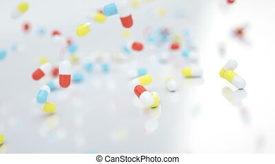 Slow motion falling pills - Slow motion, sequence - pills...