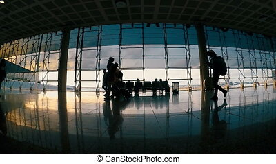 Slow motion footage in aeroport Barcelona with passengers