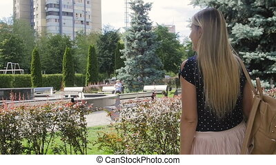 Slow motion footage of beautiful young woman making photo on...