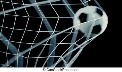 Slow Motion Football Scores Goal In Net Closeup - Closeup of...