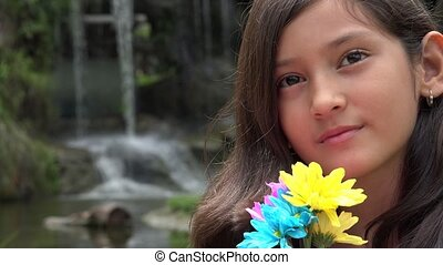 Slow Motion Hispanic Girl at Waterfall