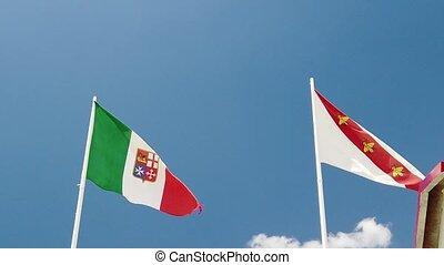 Italian flag and Elba island flag - SLOW MOTION: Italian ...