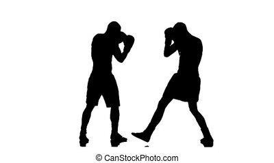 Slow motion knockout boxer. Silhouette