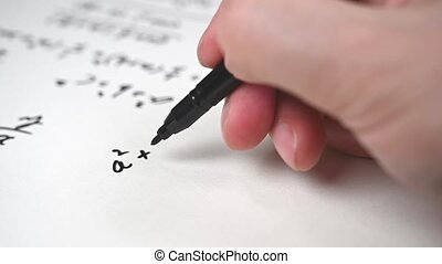 Slow Motion. Notes filled with mathematical formulas. Education concept.