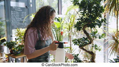 Slow motion of attractive girl in apron spraying green plant...