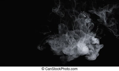 4k video of cloudy smoke of e-cigarette on black background