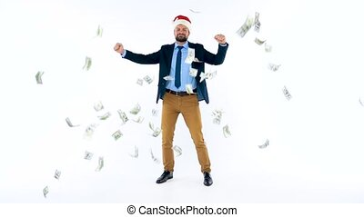 Slow motion of dollars falling on formally dressed man in...