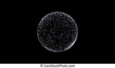 slow motion of dots in 3D spherical container filled...