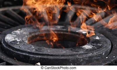 Close up of Eternal flame monument at grave of unknown soldier. Slow motion