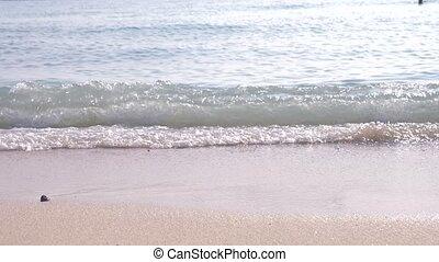 Slow motion of female legs running splashing into water....