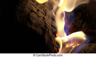 Slow motion of fire flames surrounding log
