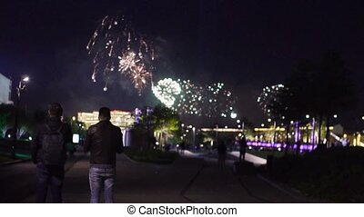 People shooting firework show - Slow motion of firework in...