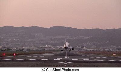slow motion of landing big plane