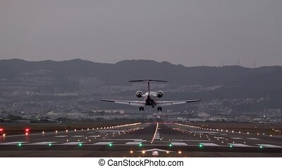slow motion of landing small plane