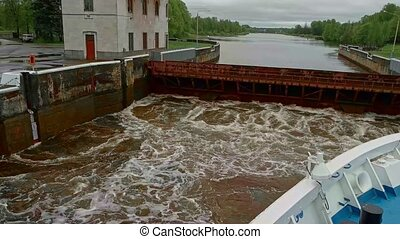 Slow motion of loading canal lock on Moscow-river