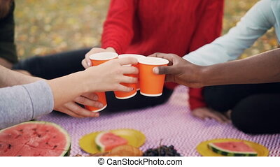 Slow motion of male and female friends holding drinks then clinking glasses and having fun sitting on blanket in park enjoying picnic together on autumn day.