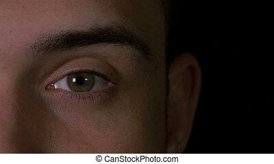 Slow motion of man eye opening while feeling surprised