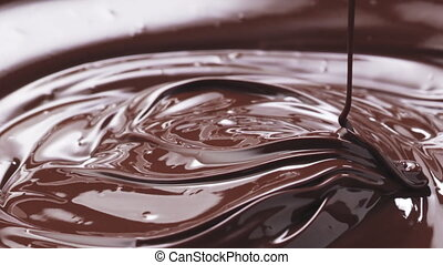 Slow motion of melted premium dark chocolate drips from whisk, 180fps footage