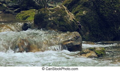 Slow motion of river stream
