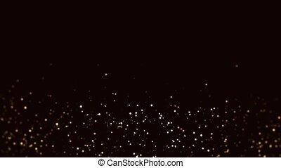 Slow motion of small particles in the form of gold dust on a black background HD