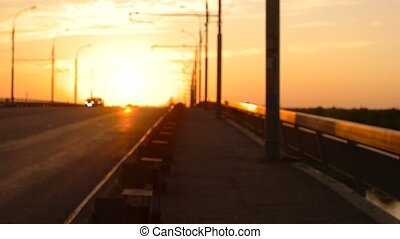 Slow motion of sunset traffic FHD footage