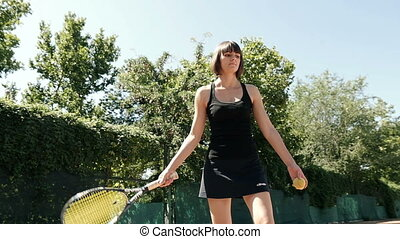 Slow Motion Of Woman Playing Tennis