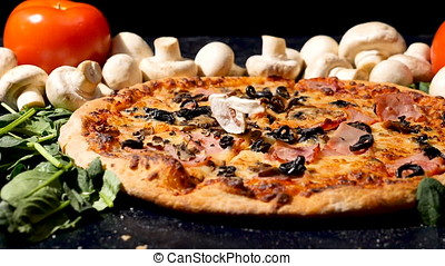 Slow motion on cutted mushrooms falling on pizza - Slow...