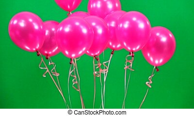 slow motion  pink balloons fly up  on green screen