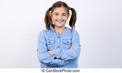 Slow motion portrait og young adorable teenage girl smiling at the camera